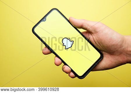 Snapchat Logo On Mobile Phone. Russia, St.petersburg, 8 December 2020.