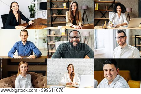Application View Of Multiracial Work Team, Headshots Of Diverse Group Of Young People Looks At The C