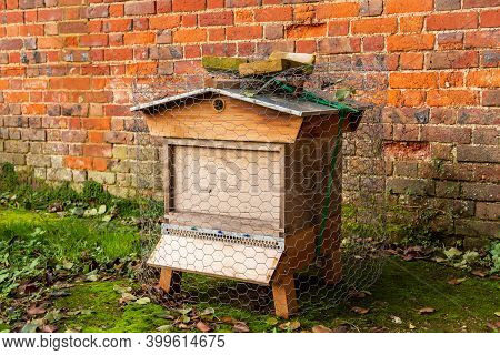 A Single Beehive In An Allotment In Front Of A Brick Wall