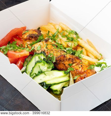 Fast Food Delivery.greek Souvlaki, Salad And Gyros Take Away Menu From Fastfood Restaurant Served In