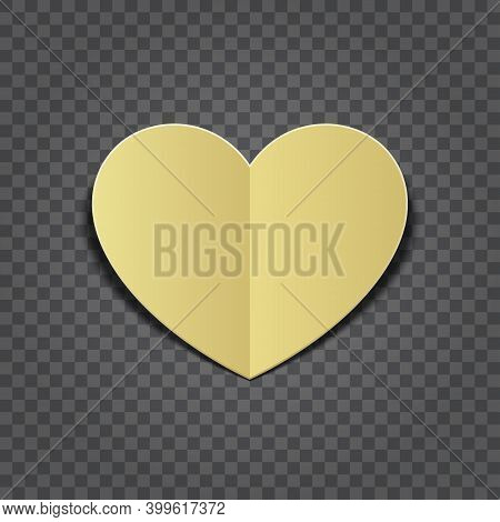 Gold Heart Cut Paper Shape Isolated On Transparent Background