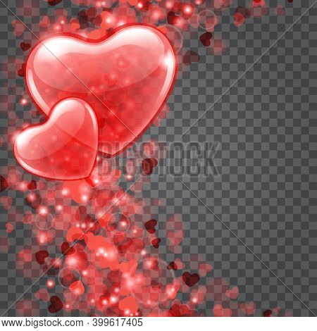 Hearts Confetti Bokeh Lights Isolated On Transparent Background