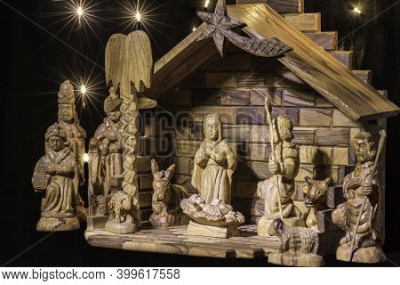A Wooden Manger Scene Craved From Olive Wood From Israel