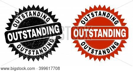 Black Rosette Outstanding Watermark. Flat Vector Scratched Stamp With Outstanding Title Inside Sharp