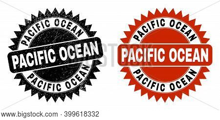 Black Rosette Pacific Ocean Seal Stamp. Flat Vector Scratched Seal With Pacific Ocean Caption Inside