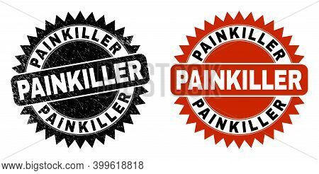 Black Rosette Painkiller Watermark. Flat Vector Scratched Watermark With Painkiller Phrase Inside Sh