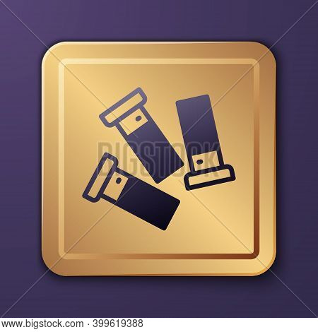 Purple Cartridges Icon Isolated On Purple Background. Shotgun Hunting Firearms Cartridge. Hunt Rifle