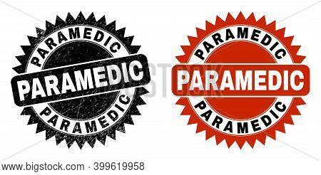 Black Rosette Paramedic Seal Stamp. Flat Vector Grunge Seal Stamp With Paramedic Message Inside Shar