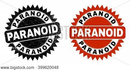 Black Rosette Paranoid Seal Stamp. Flat Vector Grunge Seal Stamp With Paranoid Title Inside Sharp Ro