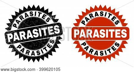 Black Rosette Parasites Stamp. Flat Vector Grunge Seal Stamp With Parasites Text Inside Sharp Rosett