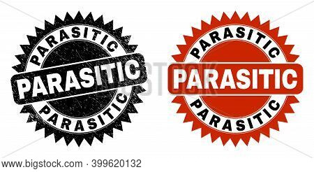 Black Rosette Parasitic Seal. Flat Vector Distress Seal With Parasitic Text Inside Sharp Rosette, An