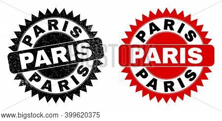 Black Rosette Paris Seal Stamp. Flat Vector Textured Seal With Paris Text Inside Sharp Rosette, And