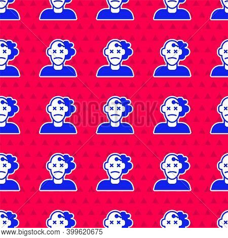 Blue Murder Icon Isolated Seamless Pattern On Red Background. Body, Bleeding, Corpse, Bleeding Icon.