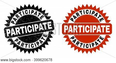 Black Rosette Participate Stamp. Flat Vector Textured Seal Stamp With Participate Phrase Inside Shar