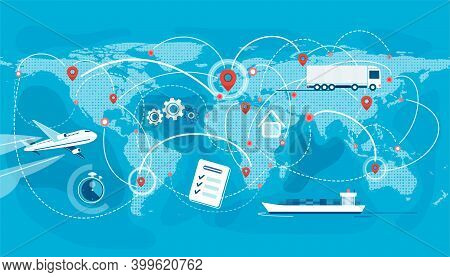Shipping, Logistic Supply Chain Vector Illustration. Export, Import Concept Background With Global E
