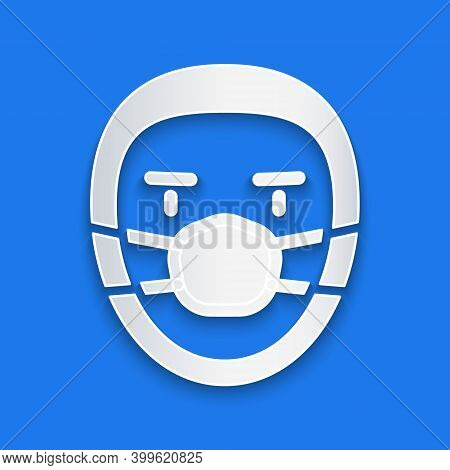 Paper Cut Doctor Pathologist Icon Isolated On Blue Background. Paper Art Style. Vector
