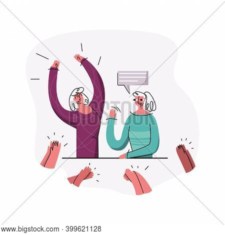 Vector Flat Illustration With Concept Of Speeches, Programs, News, Sweepstakes, Podcasts. Women Are
