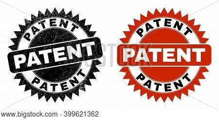 Black Rosette Patent Seal Stamp. Flat Vector Textured Seal Stamp With Patent Title Inside Sharp Star