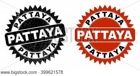 Black Rosette Pattaya Seal Stamp. Flat Vector Scratched Watermark With Pattaya Message Inside Sharp