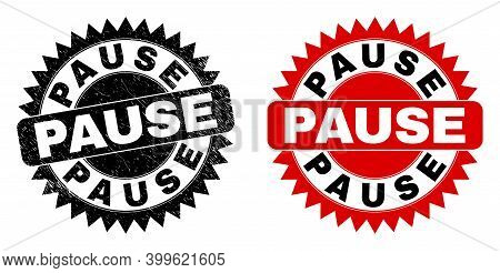 Black Rosette Pause Watermark. Flat Vector Scratched Seal Stamp With Pause Message Inside Sharp Rose