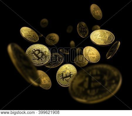 Gold Coin Bitcoin Levitates On A Black Background