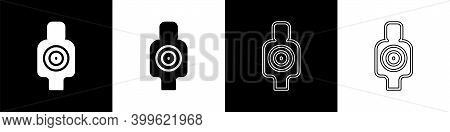 Set Human Target Sport For Shooting Icon Isolated On Black And White Background. Clean Target With N