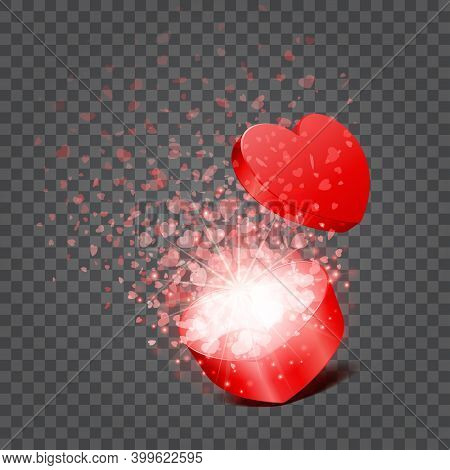 Gift Box And Hearts Confetti Isolated On Transparent Background