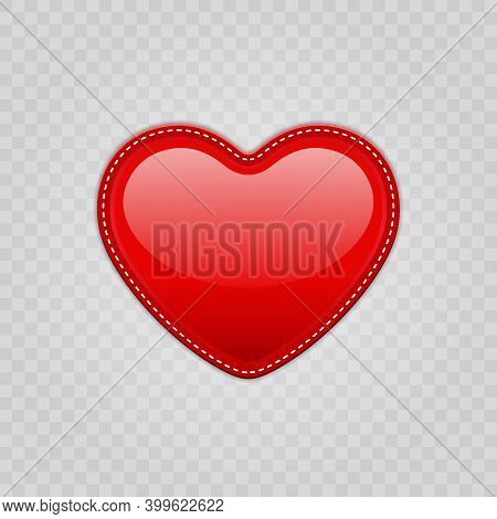 Red Shiny Heart Shape Isolated On Transparent Background For Valentines Day Design