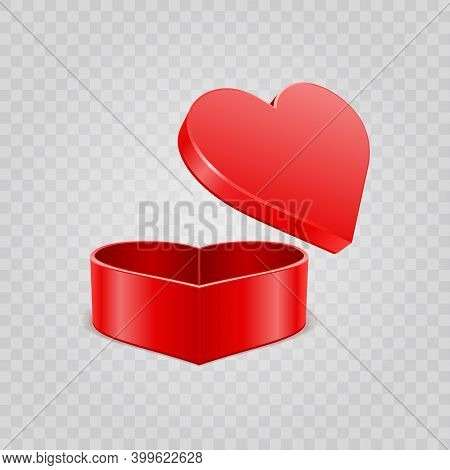 Red Heart Gift Box Isolated On Transparent Background For Valentines Day Design