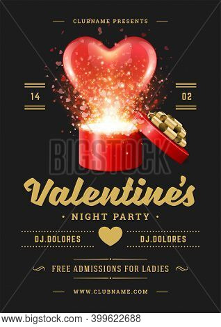 Valentines Day Party Flyer Or Poster Design.