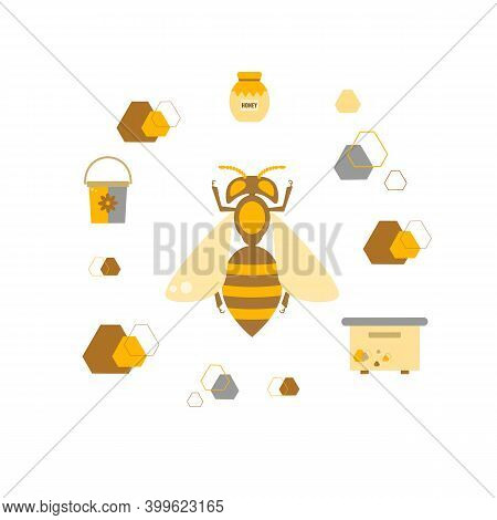 Vector Illustration Of A Bee On A Background Of A Beehive, Jars Of Honey And Honeycombs. Concept Of