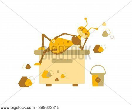 Vector Illustration Of A Drone Bee That Lies On A Hive With A Flower On A Background Of Honeycombs A