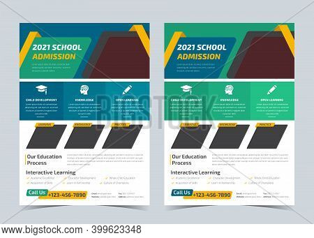 School Admission Flyer, Education Poster, Back To School Get Admission Promotion