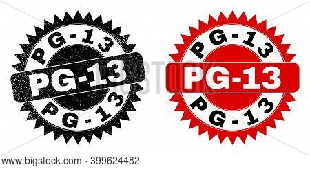 Black Rosette Pg-13 Seal Stamp. Flat Vector Scratched Watermark With Pg-13 Caption Inside Sharp Rose