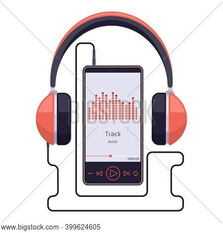 Smartphone With Headset. Earphones And Smartphone Audio Player, Stereo Sound Mobile Music Player. Au