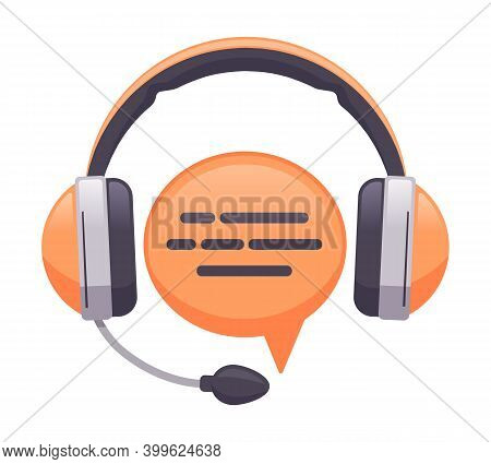 Headphones Support Service. Online Customer Support, Consultant Or Hotline, Call Center Concept. Hea