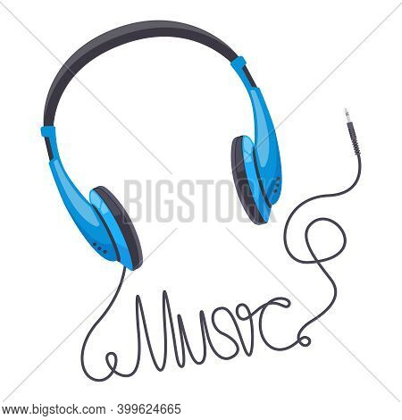 Headphones Music Concept. Wired Earbud Music Stereo Sound, Music Lettering Word Made From Headphone
