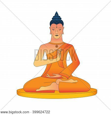 Meditating Buddha, With A Medallion In The Form Of A Wheel Of Samsara, Hands Show The Mudra Vitarka