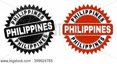 Black Rosette Philippines Seal. Flat Vector Grunge Seal With Philippines Caption Inside Sharp Rosett