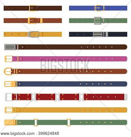Leather Strapping Belts. Leathern Belt With Metal Buckle, Elegant Fashion Strap Elements. Leather Cl