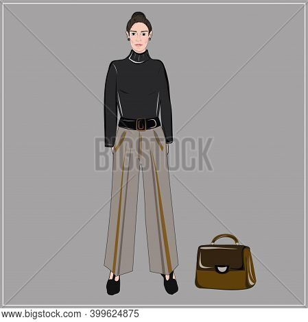 Girl Model In Beige Trousers, A Black Turtleneck And A Briefcase. Holiday And Work Wardrobe. The Pub