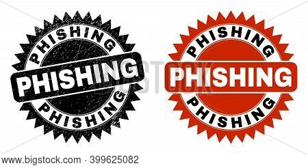 Black Rosette Phishing Seal Stamp. Flat Vector Distress Seal Stamp With Phishing Message Inside Shar