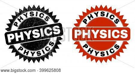 Black Rosette Physics Stamp. Flat Vector Scratched Stamp With Physics Phrase Inside Sharp Rosette, A