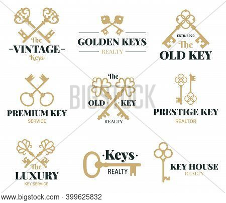 Old Keys Emblems. Vintage Door Keys Labels, Real Estate Agency Or Key Service Vector Symbols Set. Re