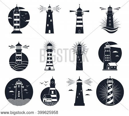 Lighthouse Labels. Vintage Beacon Building Emblems, Marine Navigation Lighthouse Silhouettes. Beacon