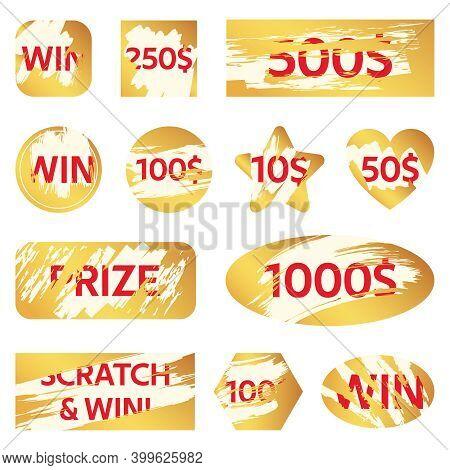 Scratch Lottery Card. Lottery Win Ticket, Golden Scratch Cards For Lottery Game. Winning Game Card C