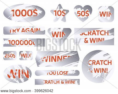 Scratch Cards. Lottery Silver Scratch Cards, Winning Game Lottery Card Covers. Win Lottery Ticket Ve