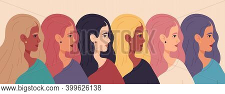 International Women Day. Women Profile Faces, Friendship, Sisterhood Womens Day Concept. Women Empow