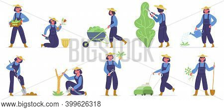 Garden Worker. Female Gardener Planting, Watering And Growing Sprouts, Garden Job With Farming Tools