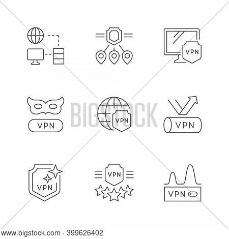 Set Line Outline Icons Of Vpn Isolated On White. Virtual Private Network, Internet Anonymity. Vector